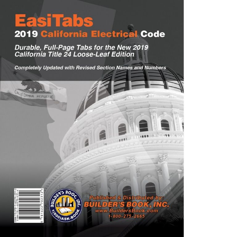 EasiTabs: 2019 California Electrical Code Title 24, Part 3. BUILDER'S BOOK.